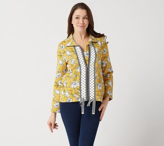 Susan Graver Weekend Printed French Terry Zip-Front Jacket