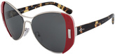 Prada Silver & Red Butterfly Sunglasses