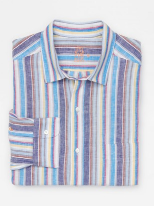 J.Mclaughlin Gramercy Classic Fit Linen Shirt in Stripe