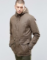 Element Roghan Waxed Long Parka Canteen Green With Quilted Lining