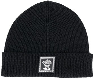 Versace Ribbed Knit Wool Beanie