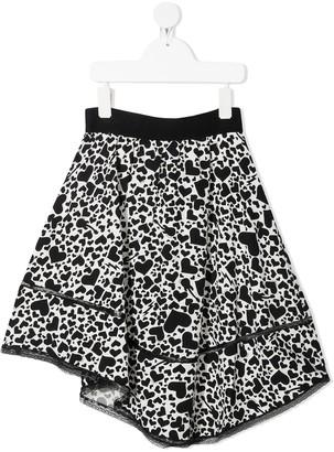 Zadig & Voltaire Kids heart print A-line skirt