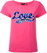 Love Moschino sequin embroidered T-shirt - women - Cotton/Spandex/Elastane - 40