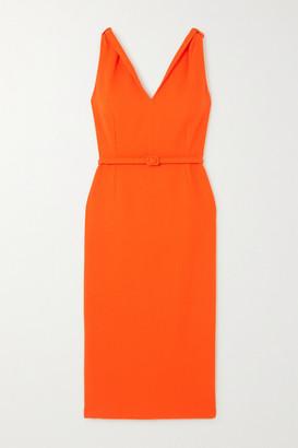 Oscar de la Renta Belted Wool-blend Crepe Midi Dress - Orange