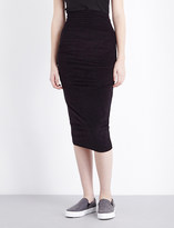 James Perse High-rise stretch-velvet skirt