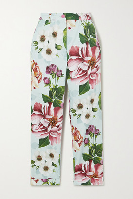 Dolce & Gabbana Cropped Floral-print Cotton-blend Twill Slim-leg Pants - Blue