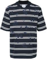 Sacai striped paint-splatter T-shirt