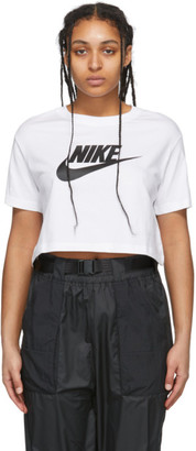 Nike White Essential Crop Icon T-Shirt