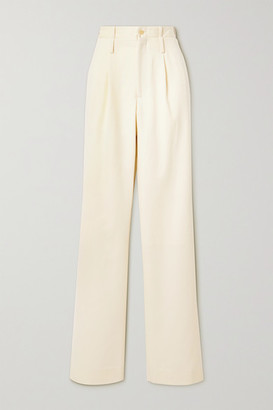 Commission Pleated Wool-twill Straight-leg Pants - Cream
