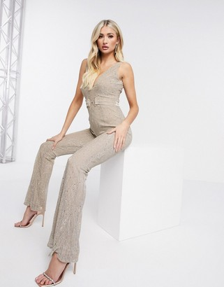 Rare London flared jumpsuit in gold