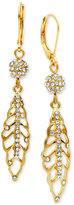 lonna & lilly Gold-Tone Pavé Feather Drop Earrings