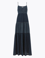 Per Una UsMarks and Spencer Cotton V-Neck Lace Insert Maxi Tiered Dress
