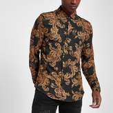 River Island Mens Black and gold baroque print slim fit shirt