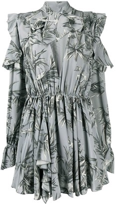 Off-White bird print V-neck pleated dress
