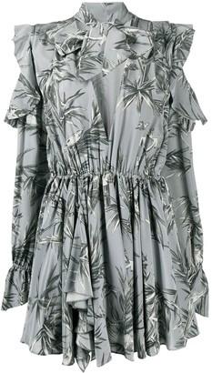 Off-White bird print V-neck pleated dress