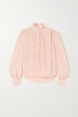 See by Chloe Ruffled Pintucked Cotton-poplin Blouse - Beige