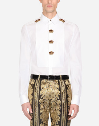 Dolce & Gabbana Cotton Gold-Fit Tuxedo Shirt With Patch