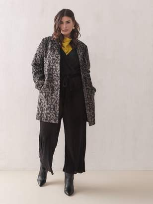Leopard Print Wool-Blend Coat - Addition Elle