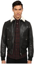 Just Cavalli Leather Bomber w/ Shearling Collar