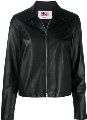 Ports 1961 Contrast Stitching Leather Jacket