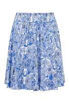 Select Fashion Fashion Womens Blue Chambray Floral Skater Skirt - size 6