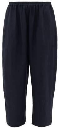 eskandar Cropped Wide-leg Linen Trousers - Womens - Navy