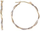 Candela 14K Two-Tone Gold Diamond Cut Twisted 25mm Hoop Earrings