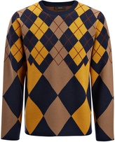 Argyle Knit Sweater In Navy