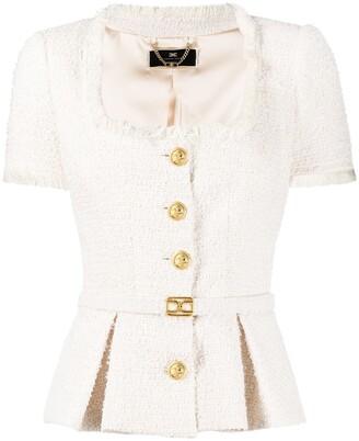 Elisabetta Franchi Belted Tweed Jacket