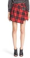 Burberry Leather Trim Plaid Wool Skirt