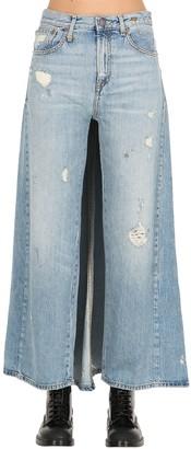 R 13 Cotton Denim Jeans W/ Back Skirt Panel