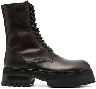 Ann Demeulemeester Leather Lace-Up Boots