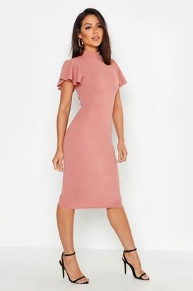 boohoo High Neck Frill Sleeve Midi Dress