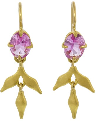 Cathy Waterman Pink Sapphire Lyrical Earrings - Yellow Gold