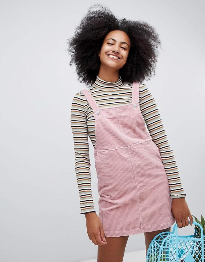 Monki Cord Mini Overall Dress