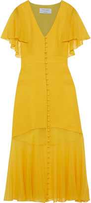 Prabal Gurung Fluted Chiffon-paneled Silk-crepe Midi Dress