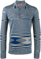Missoni Striped Long Sleeved Polo Shirt - men - Cotton - 46