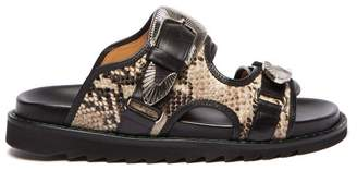 Toga Double-strap Python-effect Leather Slides - Womens - Navy Multi
