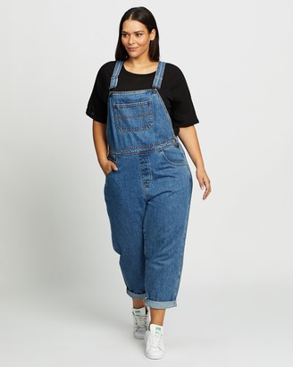 Atmos & Here Atmos&Here Curvy - Women's Blue Jumpsuits - Olive Recycled Cotton Blend Denim Overalls - Size 18 at The Iconic