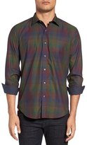 Bugatchi Shaped Fit Plaid Sport Shirt
