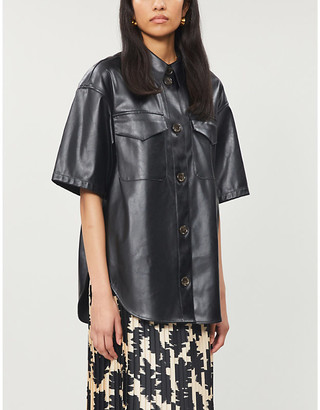 Designers Remix Mari relaxed-fit faux-leather shirt