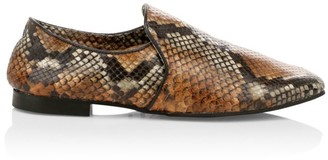 Aquatalia Revy Snake-Embossed Leather Loafers