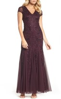 Adrianna Papell Women's Grid Floral Beaded Mesh Gown