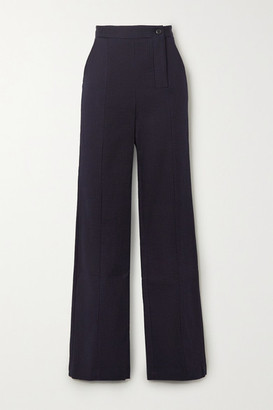 Palmer Harding palmer//harding - Taraz Striped High-rise Cotton-blend Flared Pants - Navy
