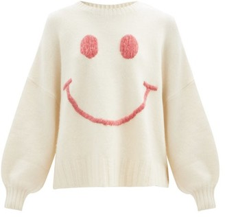 JoosTricot Smiling Face-embroidered Merino Wool-blend Sweater - Ivory
