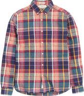 H&M Linen-blend Plaid Shirt - Dark blue/red - Men