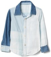 Gap Patchwork denim long sleeve shirt