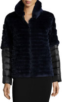 Gorski Rabbit Fur Jacket w/ Removable Down Sleeves, Navy
