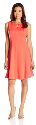 Ellen Tracy Women's Petite Sleeveless Fit and Flare Dress with Kehole at Neckline