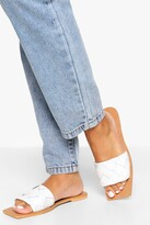 Thumbnail for your product : boohoo Leather Woven Strap Square Toe Slider